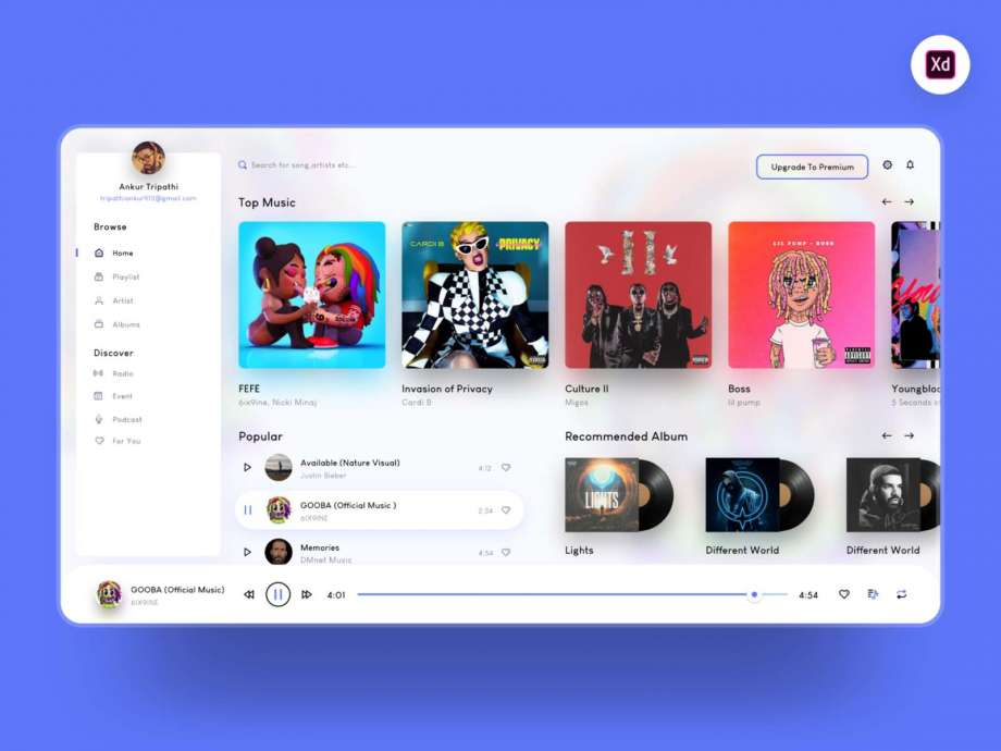 Free Music Player Web App Design