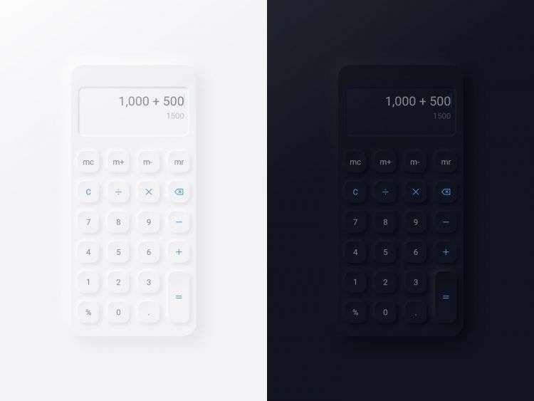 Free Neumorphic Calculator UI Kit XD