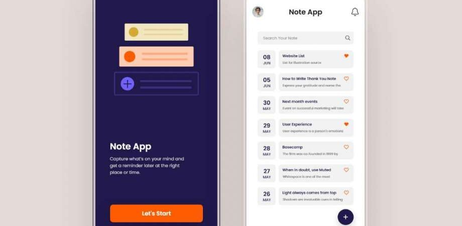 Free Note App UI for iOS