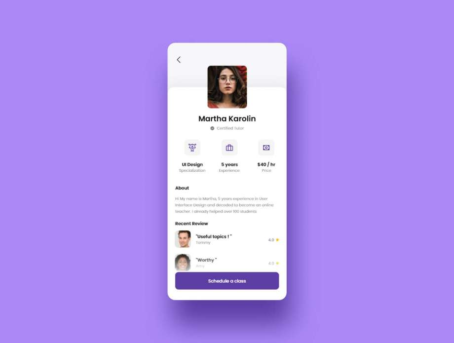 Free Online Tutor Mobile App UI Kit
