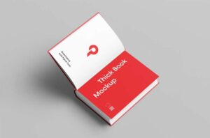 Free Open Thick Book Mockup