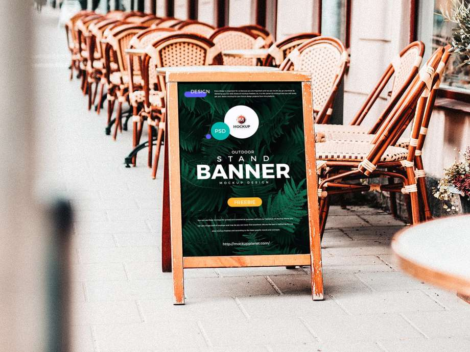 Free Outdoor Advertising Stand Banner Mockup