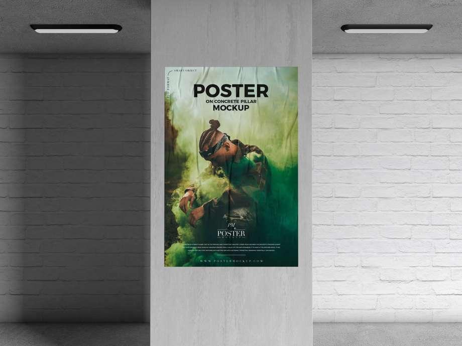 Free Poster on Concrete Pillar Mockup