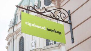 Free Rectangular Signboard Mockup