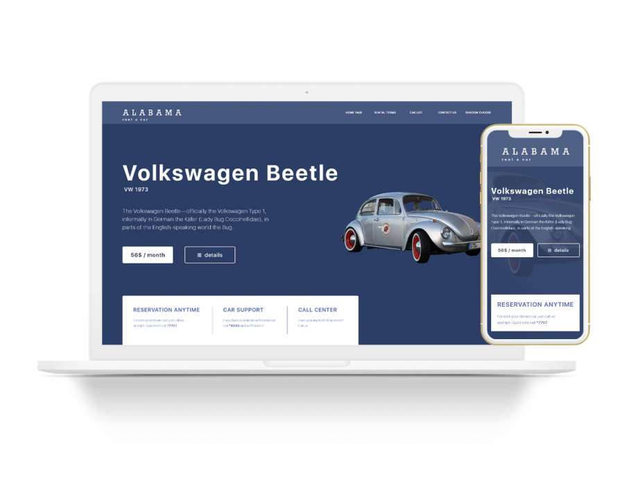 Free Rent a Car Landing Page (XD & PSD)