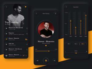 Free Skeuomorphic Music Player UI Kit Concept