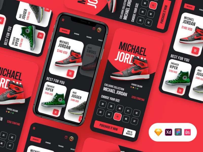 Free Sneakers Store App UI in Sketch