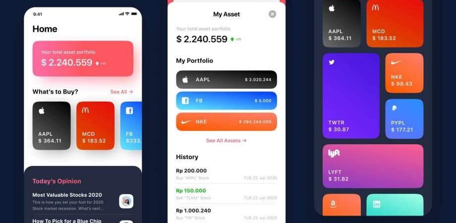 Free Stock Exchange App UI Kit