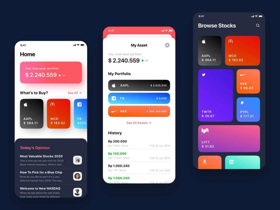 Free Stock Exchange App UI Kit
