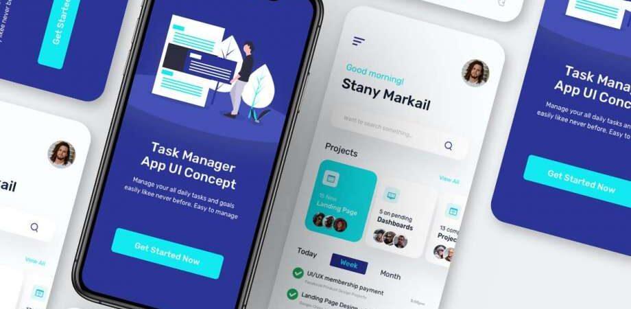 Free Task Manager App UI (XD & Sketch)