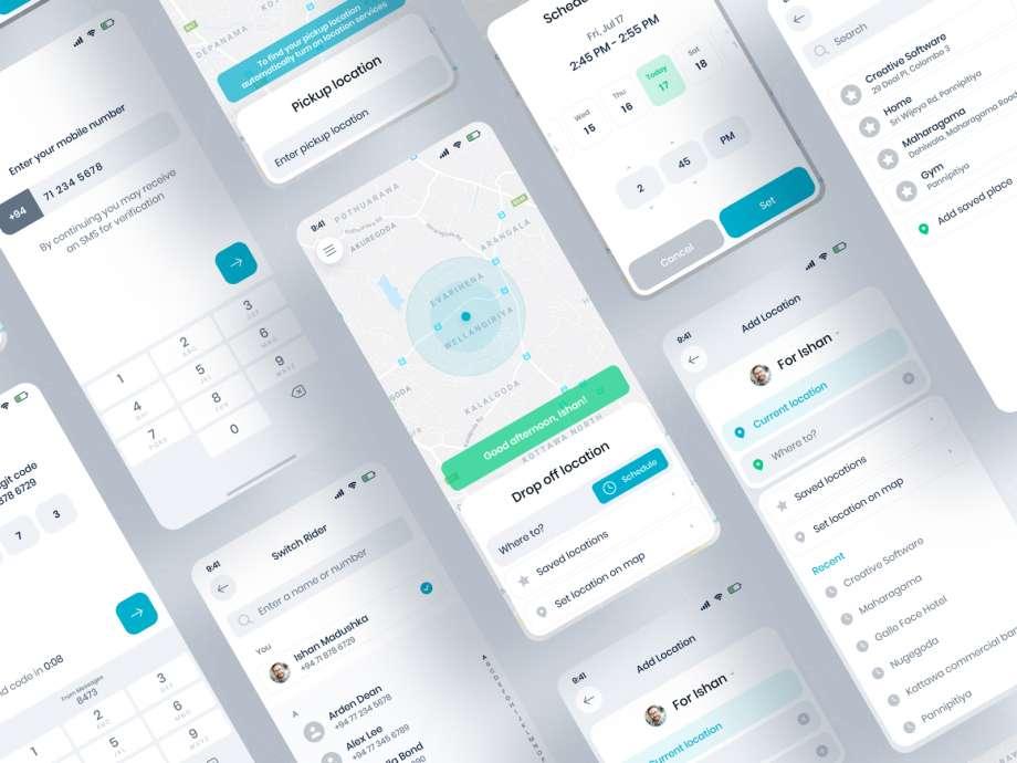 Free Taxi Booking App UI Kit