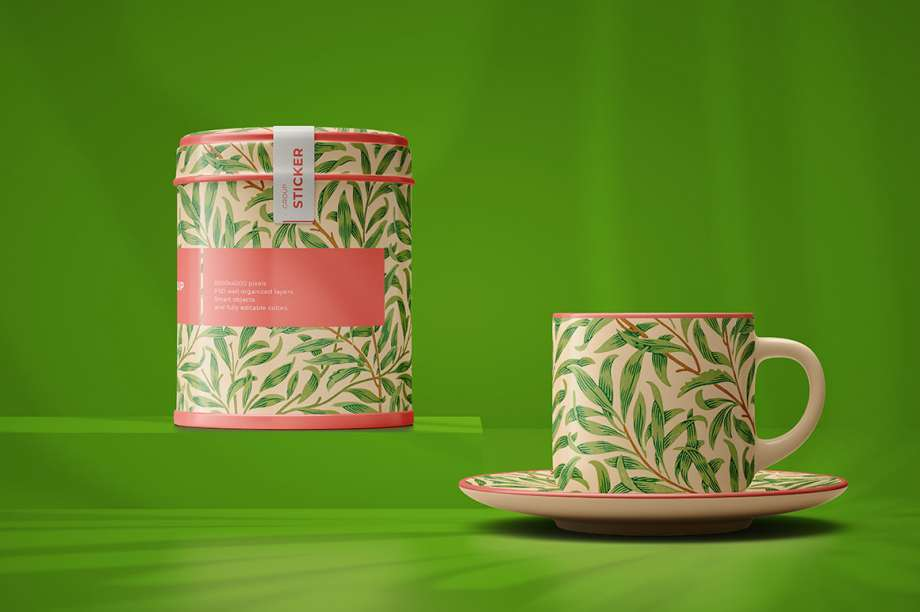 Free Tea Packaging with Cup Mockup