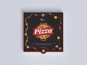 Free Top View Pizza Box Mockup