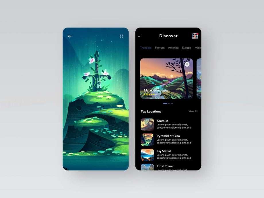 Free Trip Visit App Design Concept