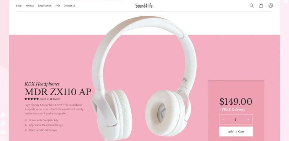Free Website Headphone Product Page (PSD)