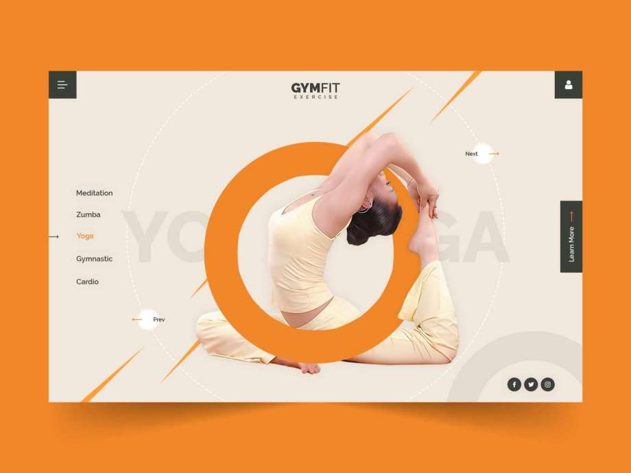 Free Yoga Fitness Website Template (PSD)