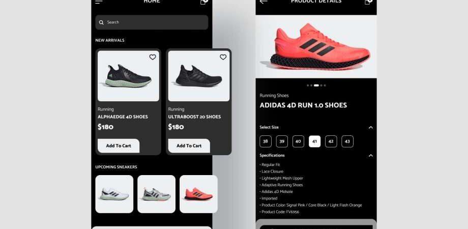 Free Adidas Store App Design UI Kits