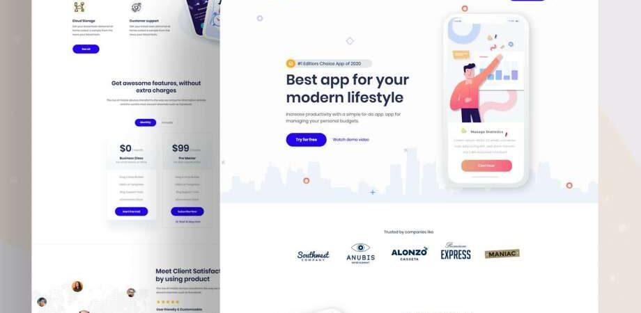 Free App Landing Page (PSD)