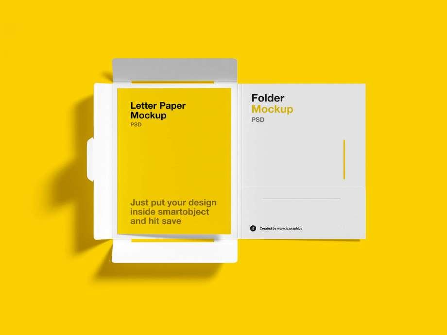 Free Brochure Inside Folder Mockup