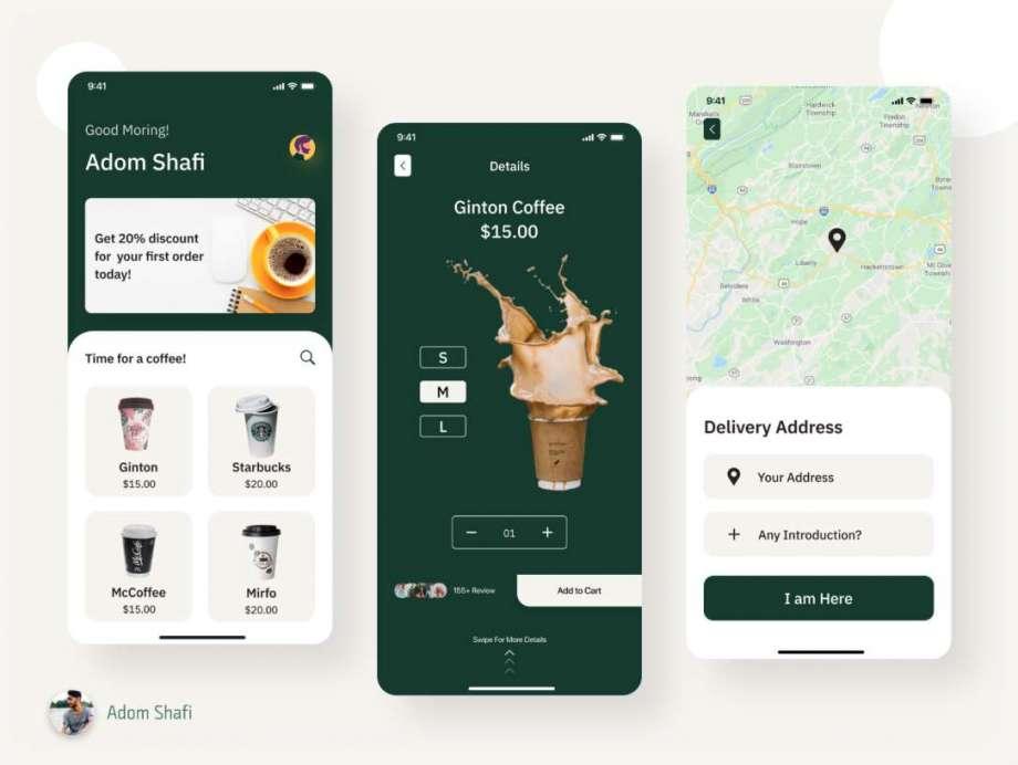 Free Coffee Shop App Screens UI Kit