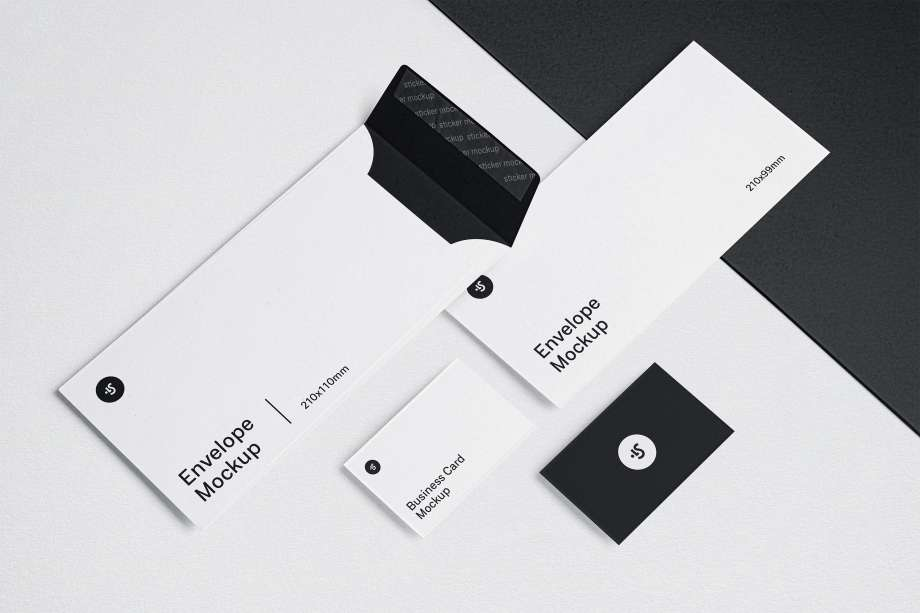 Free Envelopes and Business Cards Mockup