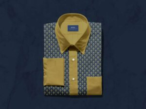 Free Folded Dress Shirt with Label Mockup