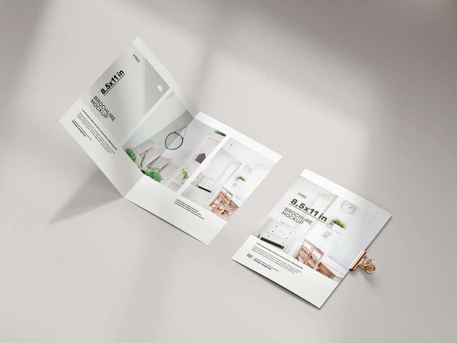 Free Folded US Bi-Fold Brochure Mockup