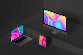 Free Isometric Apple Devices Mockup