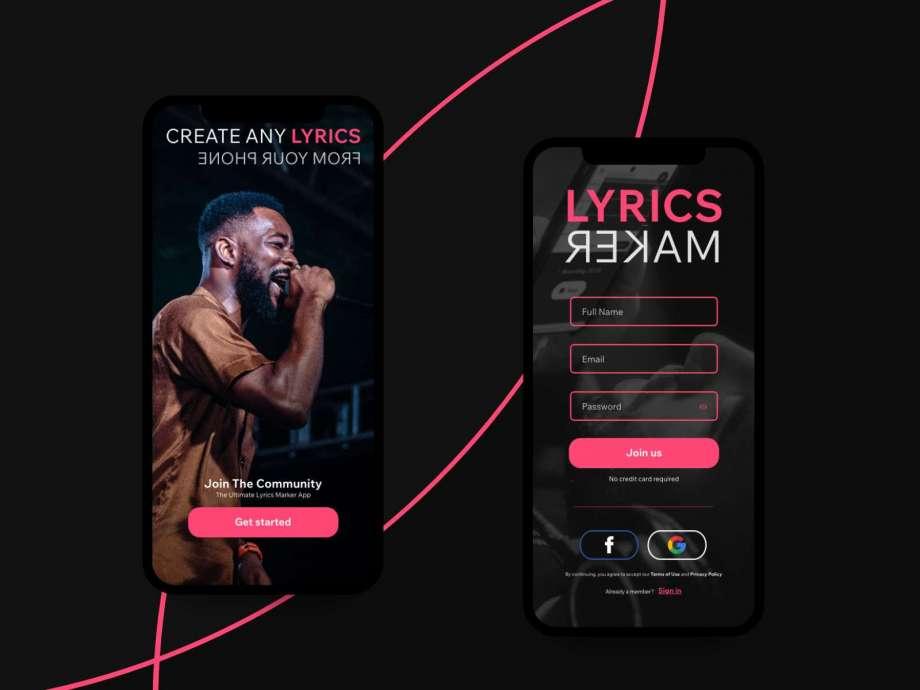 Free Lyrics Maker App UI Kit Concept