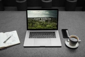 Free MacBook Pro Workspace Mockup