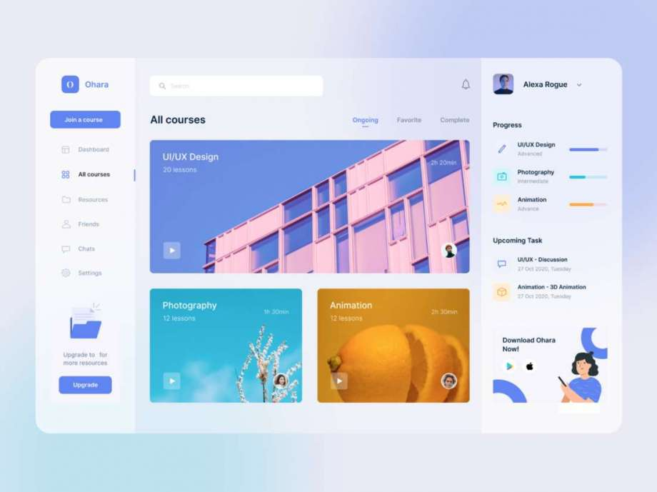 Free Online Courses Dashboard UI Kit