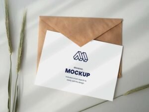 Free Paper with Envelope Mockup