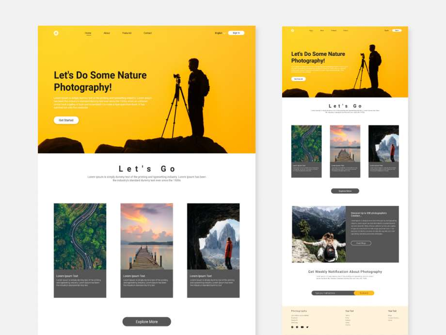 Free Photography Website UI Concept