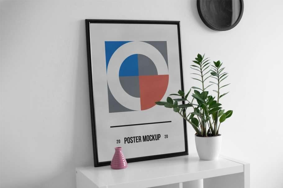 Free Poster Frame on Desk Mockup