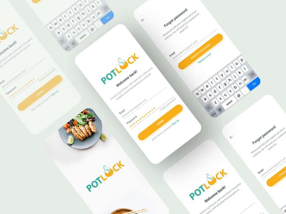 Free Restaurant Food App Login / Reset Password UI