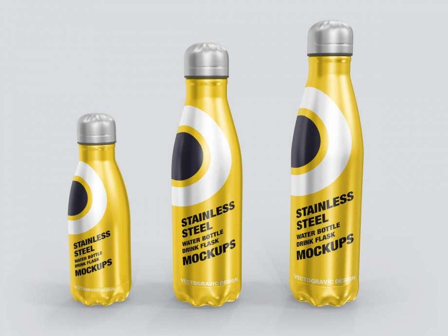 Free Stainless Steel Water Bottle Mockup