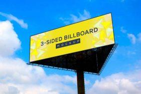 Free Triangle Billboard Ad Mockup