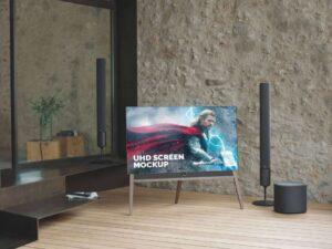 Free UHD TV LCD Screen Mockup