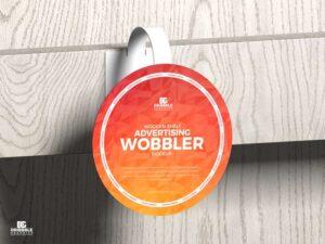 Free Wooden Shelf Advertising Wobbler Mockup