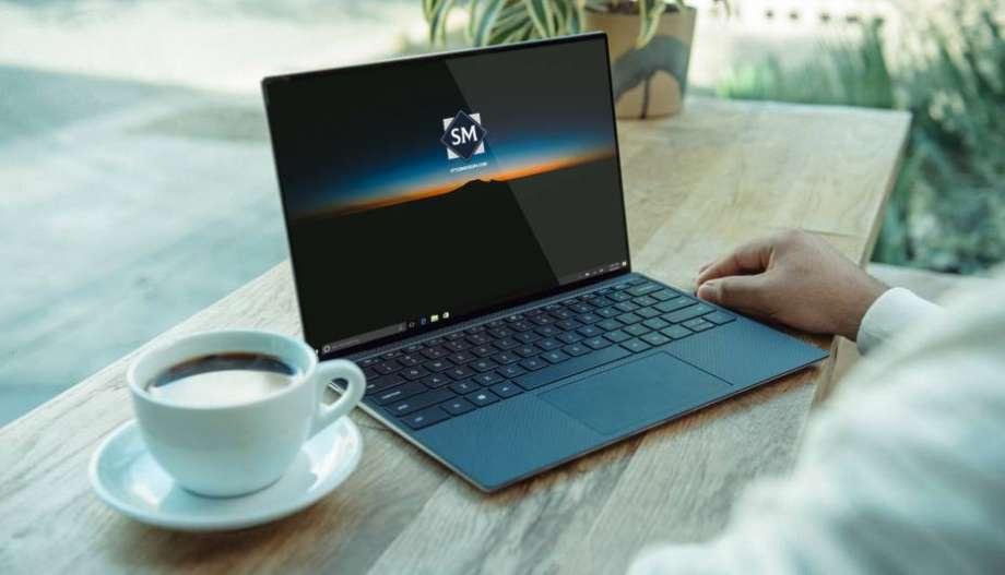 Free Working on Laptop Mockup