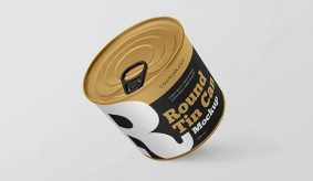 Free 3 Round Tin Can Mockup