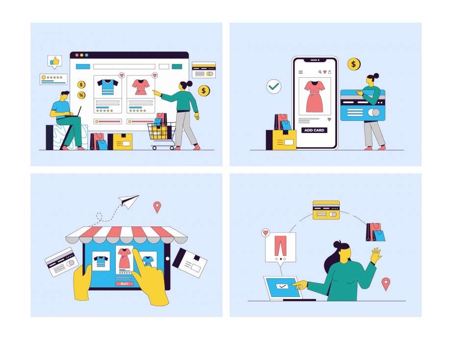 Free 8 E-Commerce Illustration UI Kit