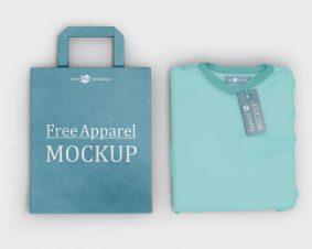 Free Apparel T-shirt, Label & Bag Mockup
