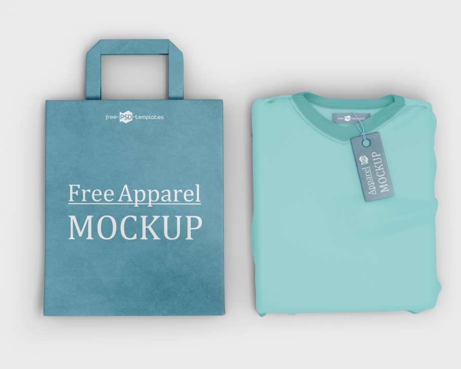 Free Apparel T-shirt, Label & Bag Mockup