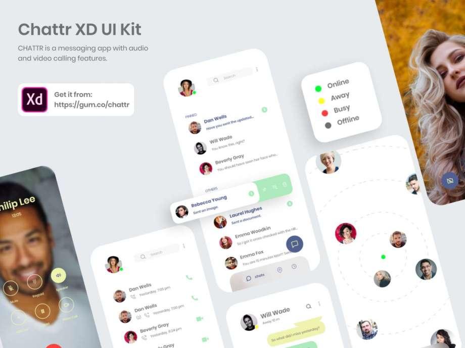 Free Chattr Messaging App UI Kit