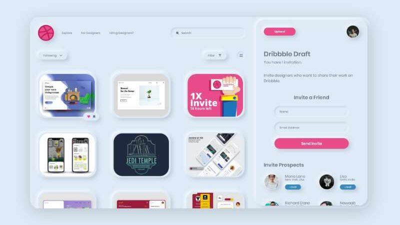 Free Dribbble Neumorphic UI Kit Redesign