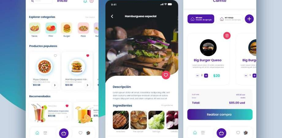 Free Food Delivery App Design UI