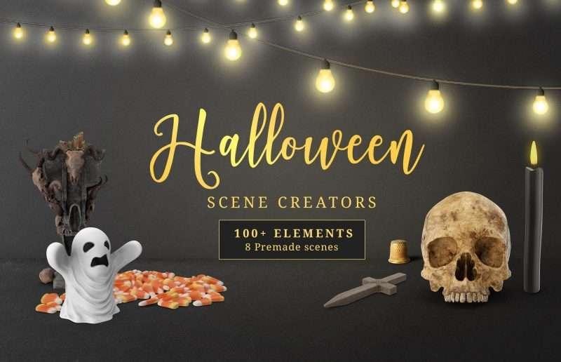 Free Halloween Scene Creator Set Mockup