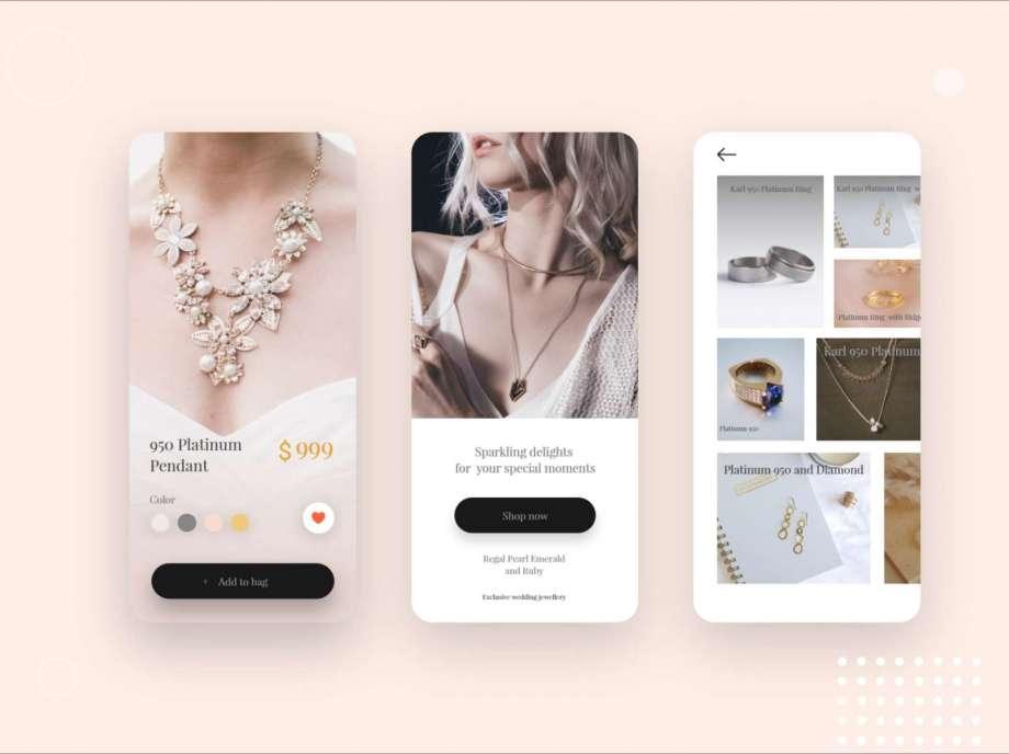 Free Jewelry Shop App Design UI Concept