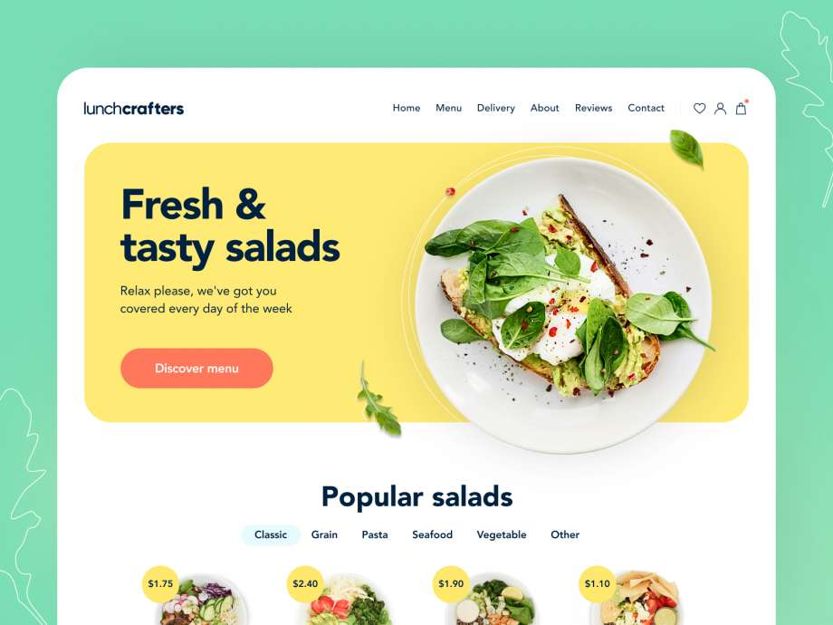 Free Lunchcrafters Healthy Food Landing page